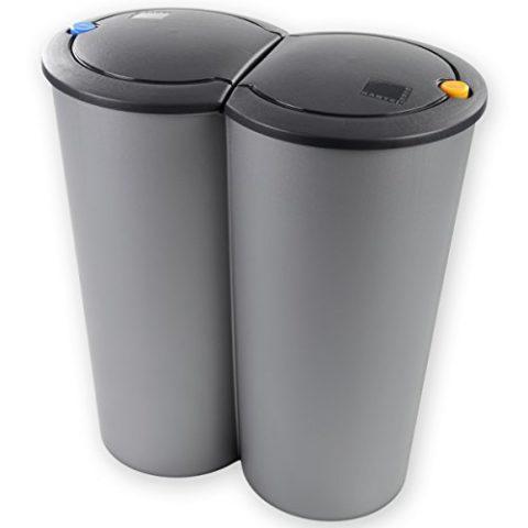 DUO-Abfalleimer-50-L-2-x-25L-aus-Kunststoff-53-x-50-x-30cm-mit-Klick-Open-Technik-0