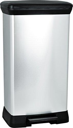 Tretabfalleimer-50-Liter-Deckel-schwarz-Korpus-metallic-silber-0