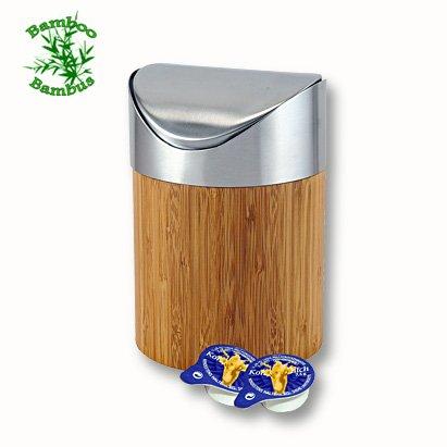 Bambus-Tischabfallbehlter-165-cm-Hhe-Tischabfalleimer-Tisch-Abfalleimer-Schwingdeckel-Tischabfall-Behlter-Restetopf-0