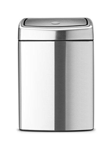 Brabantia-477225-Abfalleimer-Touch-Bin-10-L-rechteckig-mit-Kunststoffeinsatz-matt-steel-Fingerprintproof-0