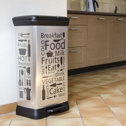 curver abfalleimer 50 liter modell food silber grau abfallbeh lter m lleimer. Black Bedroom Furniture Sets. Home Design Ideas