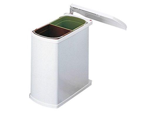 Hailo-3416001-Abfallsammler-MF-Swing-45216-w-Duo-Mlleimer-mit-Schwenkautomatik-fr-den-Einbau-ab-45-cm-Schrankbreite-16-L-wei-0