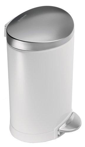 Simplehuman-CW1835CB-Mlleimer-Treteimer-Pedal-halbmondfrmig-Stahl-236-x-226-x-345-cm-Wei-0