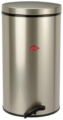 Wesco-128-731-03-Gastro-Tretabfallsammler-32-Liter-feuerverzinkter-Einsatz-neusilber-0