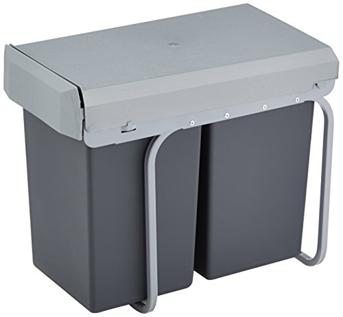 Wesco-12381-New-Double-Boy-Einbaueimer-2x-15-Liter-395-x-265-x-45-cm-schwarz-0