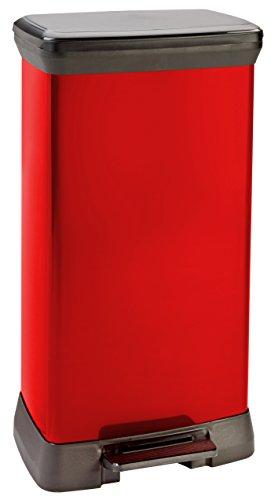 Curver-02162-931-00-Abfallbehlter-Deco-B-Metallics-mit-Pedal-50-L-rot-schwarz-0