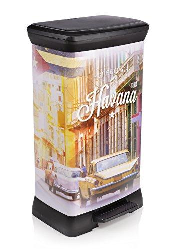 Curver-Mlleimer-mit-Tretpedal-Abfalleimer-mit-einer-Fllmenge-von-50-L-Das-stylische-Havana-Design-verschafft-Ihrer-Kche-ein-kubanisches-Flair-Der-integrierte-Geruchsschutz-verhindert-das-Austreten-una-0