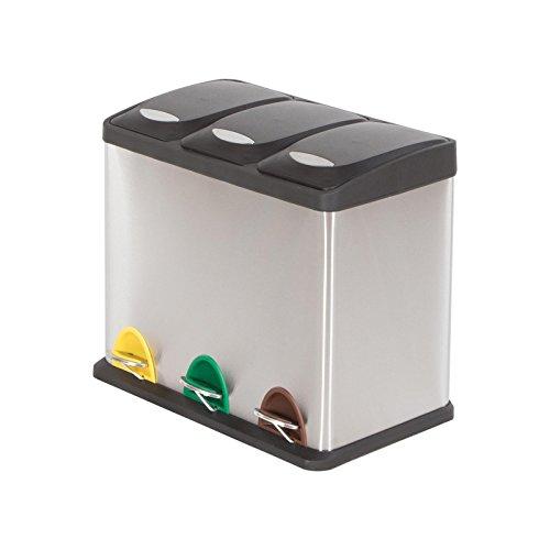 Mlleimer-mit-3-Kammern-und-Deckel-3x8-24-Liter-Edelstahl-Abfall-Treteimer-zur-Mlltrennung-0