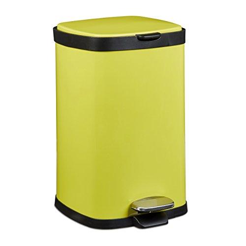 Relaxdays-Treteimer-12-L-aus-Metall-H-x-D-405-x-265-cm-groer-Abfalleimer-als-Abfallbehlter-mit-Absenkautomatik-Tretmlleimer-fr-Kche-und-als-Kosmetikeimer-im-Bad-eckiger-Tretmlleimer-gelb-0
