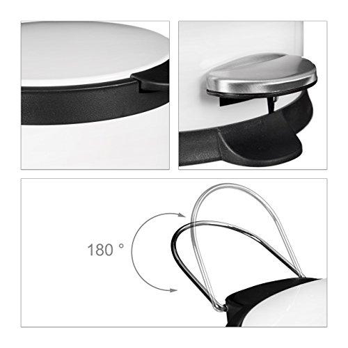 relaxdays treteimer 5 l aus metall h x d 27 5 x 23 cm abfalleimer in edelstahl optik als. Black Bedroom Furniture Sets. Home Design Ideas