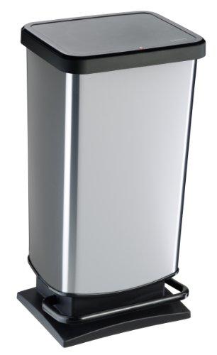 Rotho-Mlleimer-Paso-geruchsdichter-Abfalleimer-Papierkorb-aus-Kunststoff-PP-in-Edelstahl-Optik-Tretmechanismus-zum-ffnen-des-Abfallbehlters-0