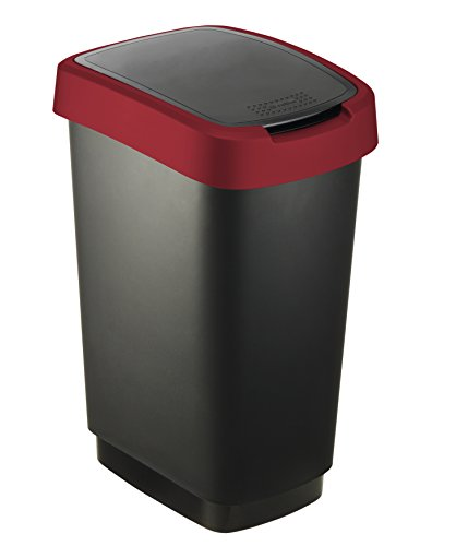 Rotho-Mlleimer-Twist-50-Liter-401-x-298-x-602-cm-Papierkorb-aus-Kunststoff-PP-in-schwarzrot-Abfallbehlter-mit-Schwing-oder-Klappdeckel-0