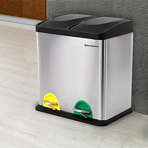 Songmics Mülleimer Abfallbehälter für Küche 30 L Treteimer Edelstahl mit Pedal LTB30L ...