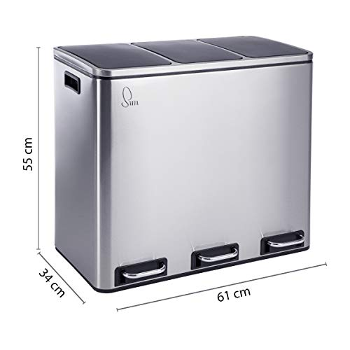 SVITA TM2X18 Treteimer 54 Liter (3x18L) Abfalleimer